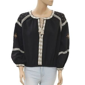 Free People Embroidered Boho Front Tie Top M